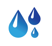 3 blue icon water droplets falling